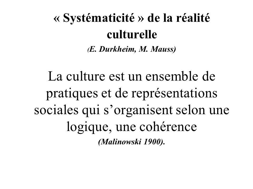 « Systématicité » de la réalité culturelle ( E. Durkheim, M.