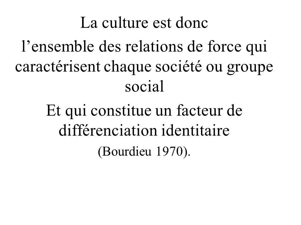 La culture est donc lensemble des relations de force qui caractérisent chaque société ou groupe social Et qui constitue un facteur de différenciation identitaire (Bourdieu 1970).