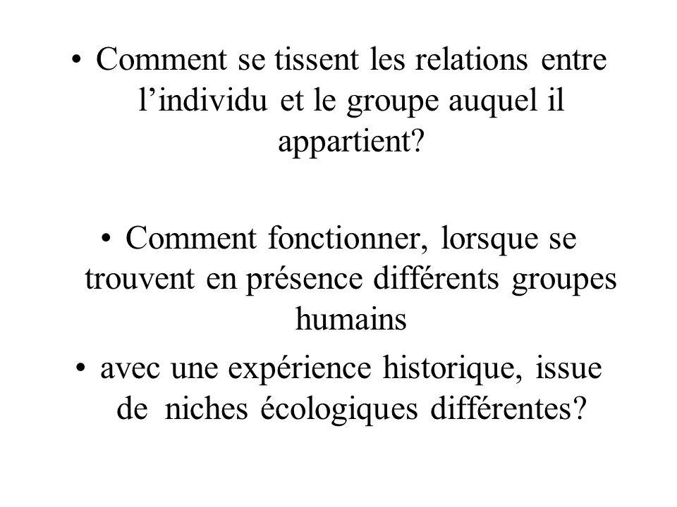 Comment se tissent les relations entre lindividu et le groupe auquel il appartient.