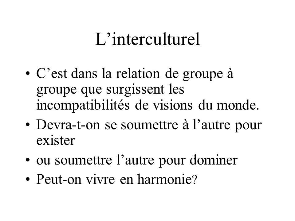 Linterculturel Cest dans la relation de groupe à groupe que surgissent les incompatibilités de visions du monde.