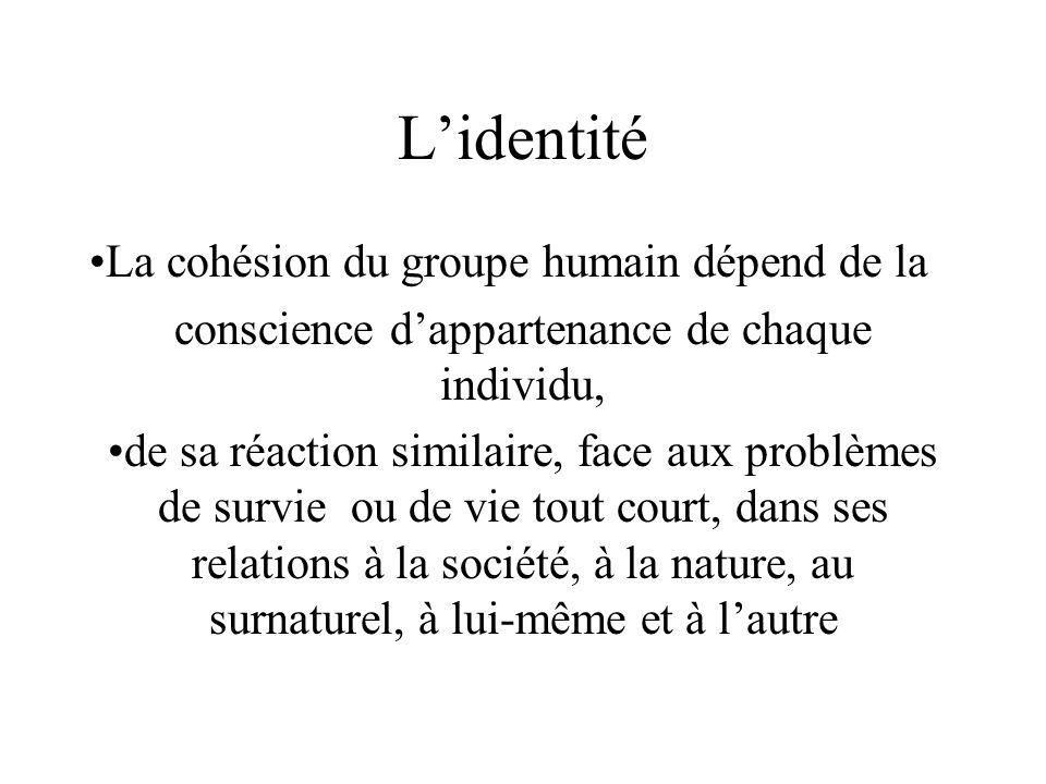 Lidentité La cohésion du groupe humain dépend de la conscience dappartenance de chaque individu, de sa réaction similaire, face aux problèmes de survie ou de vie tout court, dans ses relations à la société, à la nature, au surnaturel, à lui-même et à lautre