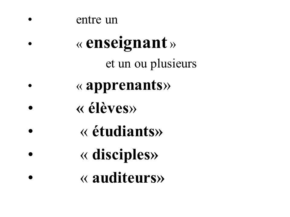 entre un « enseignant » et un ou plusieurs « apprenants» « élèves» « étudiants» « disciples» « auditeurs»