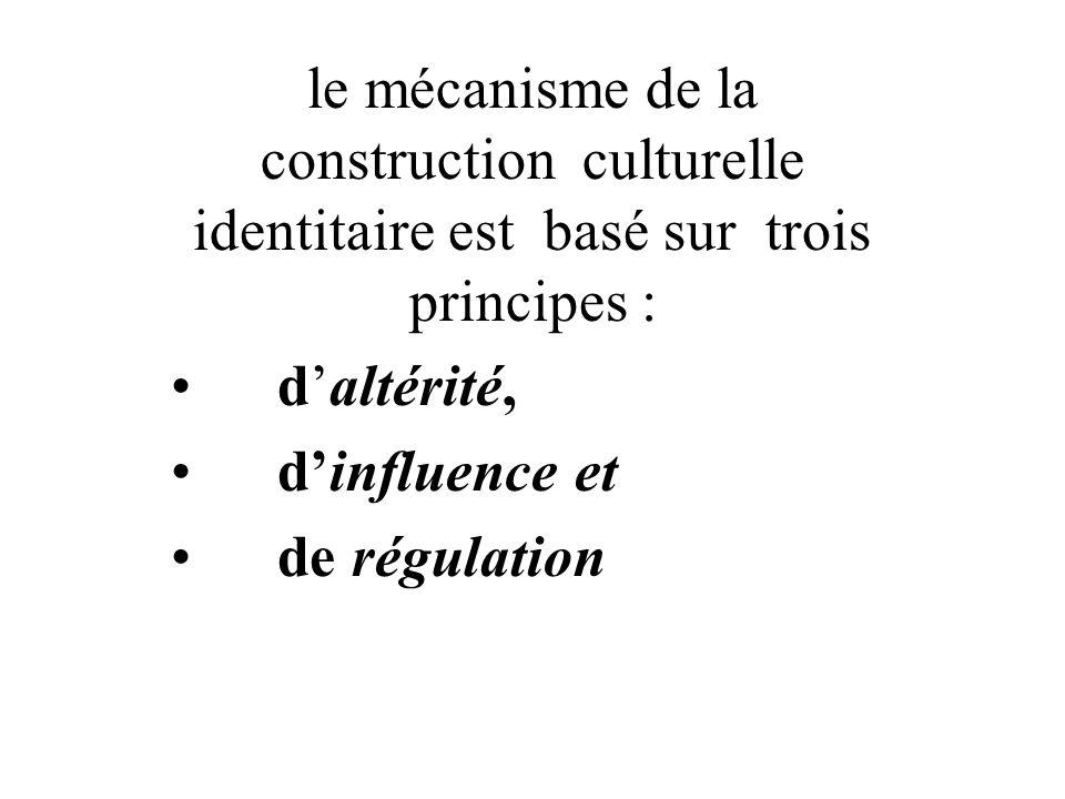 le mécanisme de la construction culturelle identitaire est basé sur trois principes : daltérité, dinfluence et de régulation