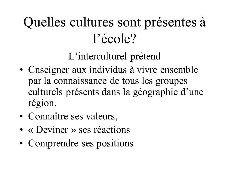 Quelles cultures sont présentes à lécole.