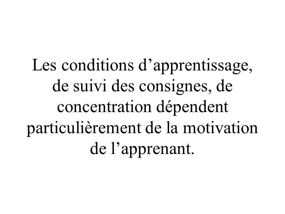 Les conditions dapprentissage, de suivi des consignes, de concentration dépendent particulièrement de la motivation de lapprenant.
