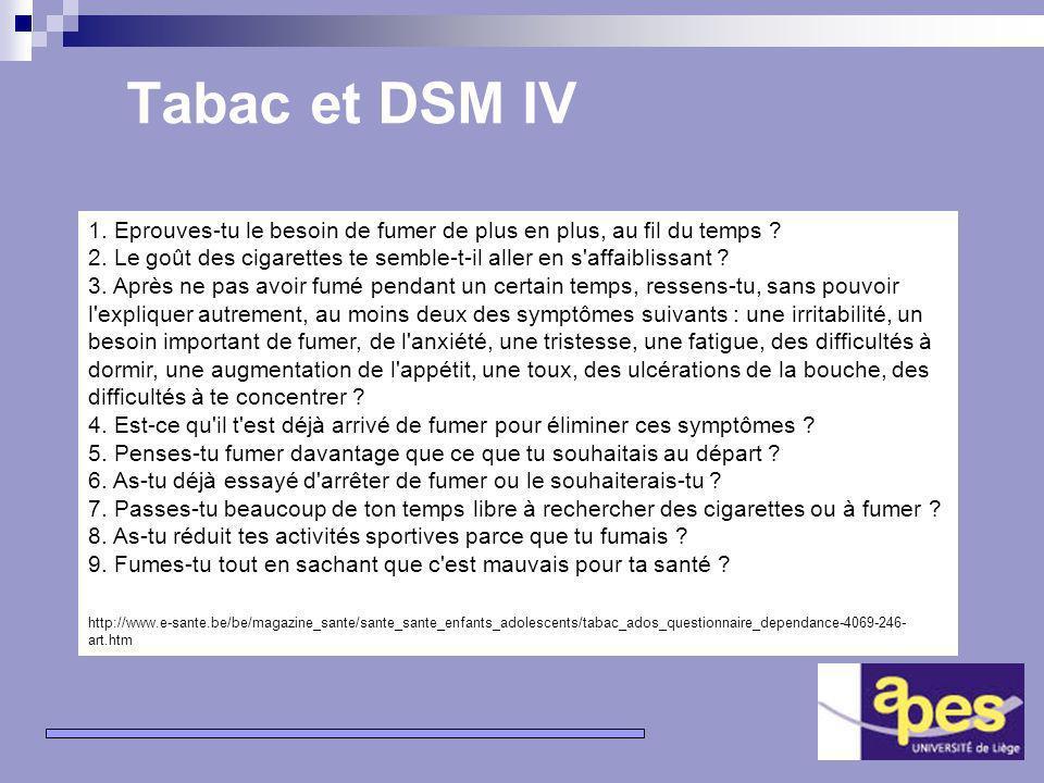 11 Tabac et DSM IV Participation au groupe de travail de lAGERS (http://www.enseignement.be/prevention_tabac/http://www.enseignement.be/prevention_tabac/ Comment évaluer la consommation de tabac dun élève .