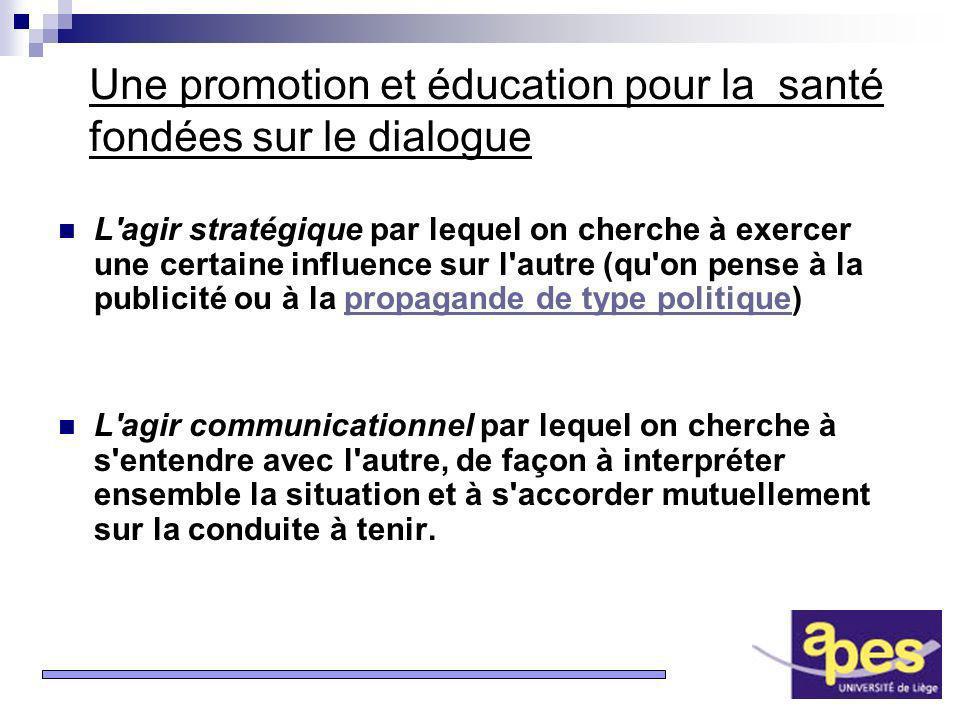13 Une promotion et éducation pour la santé fondées sur le dialogue L'agir stratégique par lequel on cherche à exercer une certaine influence sur l'au