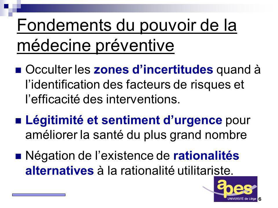 6 Fondements du pouvoir de la médecine préventive Occulter les zones dincertitudes quand à lidentification des facteurs de risques et lefficacité des interventions.