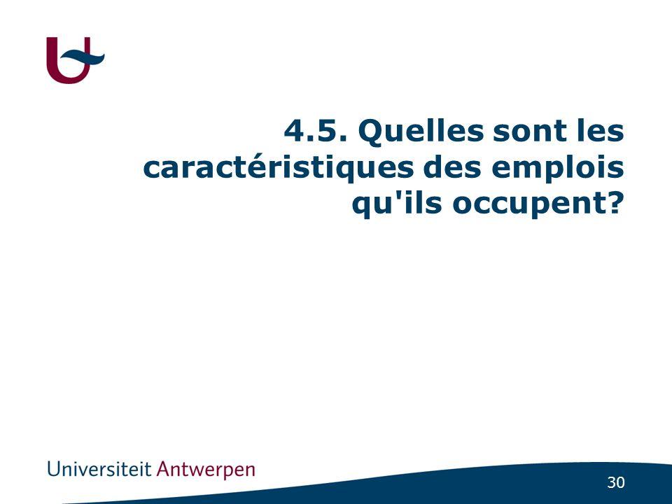 30 4.5. Quelles sont les caractéristiques des emplois qu ils occupent