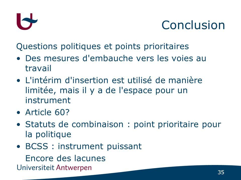 35 Conclusion Questions politiques et points prioritaires Des mesures d embauche vers les voies au travail L intérim d insertion est utilisé de manière limitée, mais il y a de l espace pour un instrument Article 60.