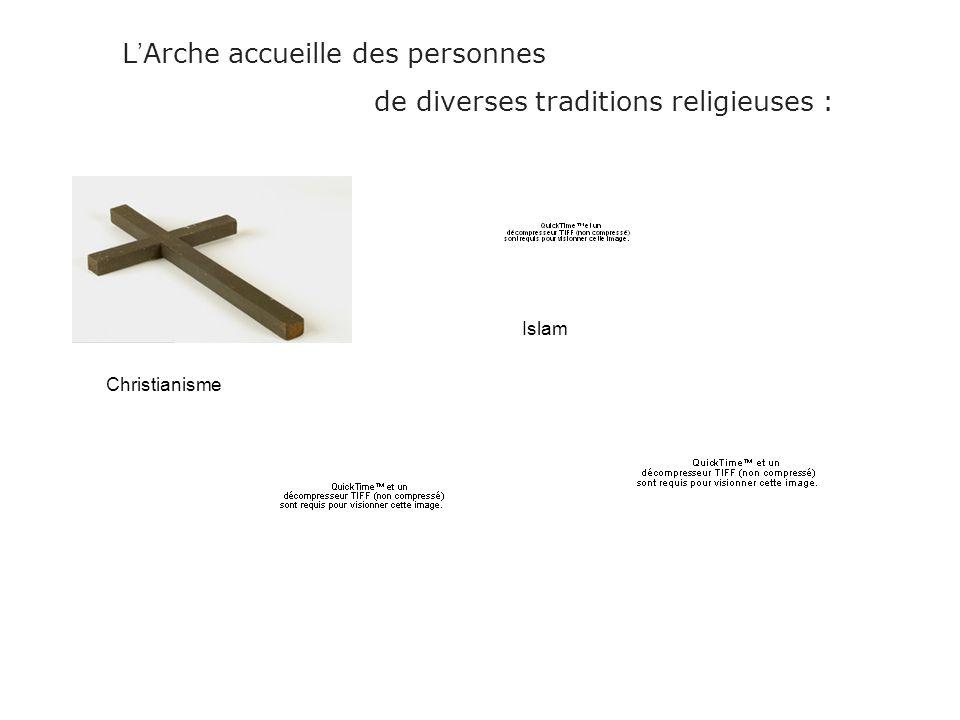 L Arche accueille des personnes de diverses traditions religieuses : Christianisme Islam