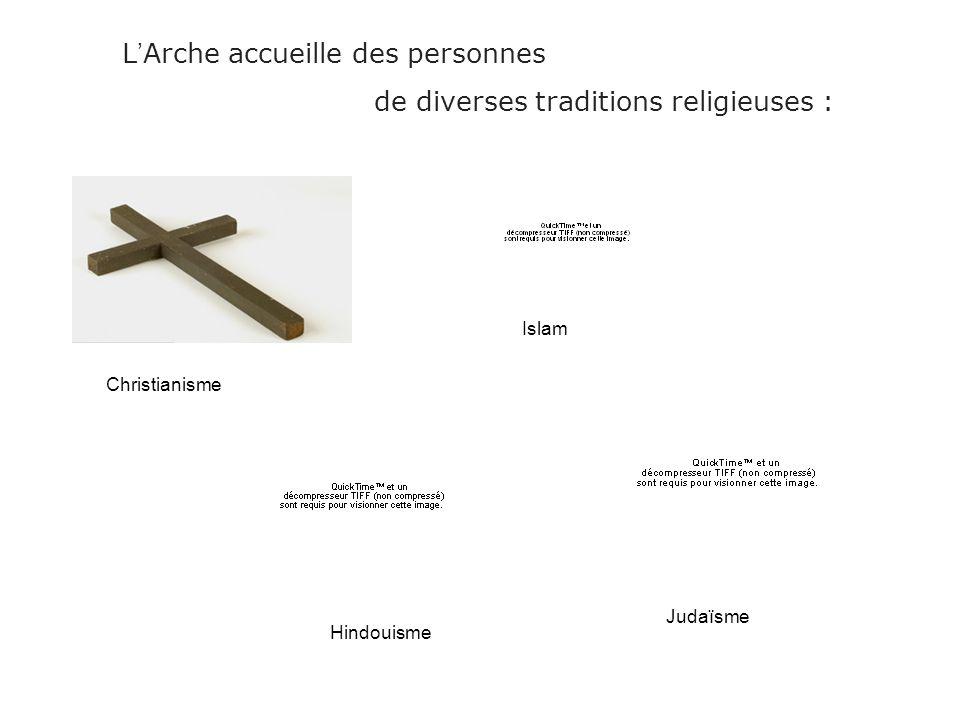 L Arche accueille des personnes de diverses traditions religieuses : Christianisme Islam Hindouisme Judaïsme