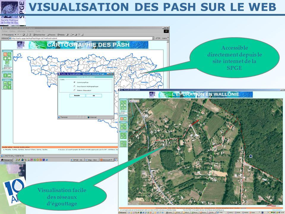 14 Visualisation facile des réseaux dégouttage Accessible directement depuis le site internet de la SPGE VISUALISATION DES PASH SUR LE WEB