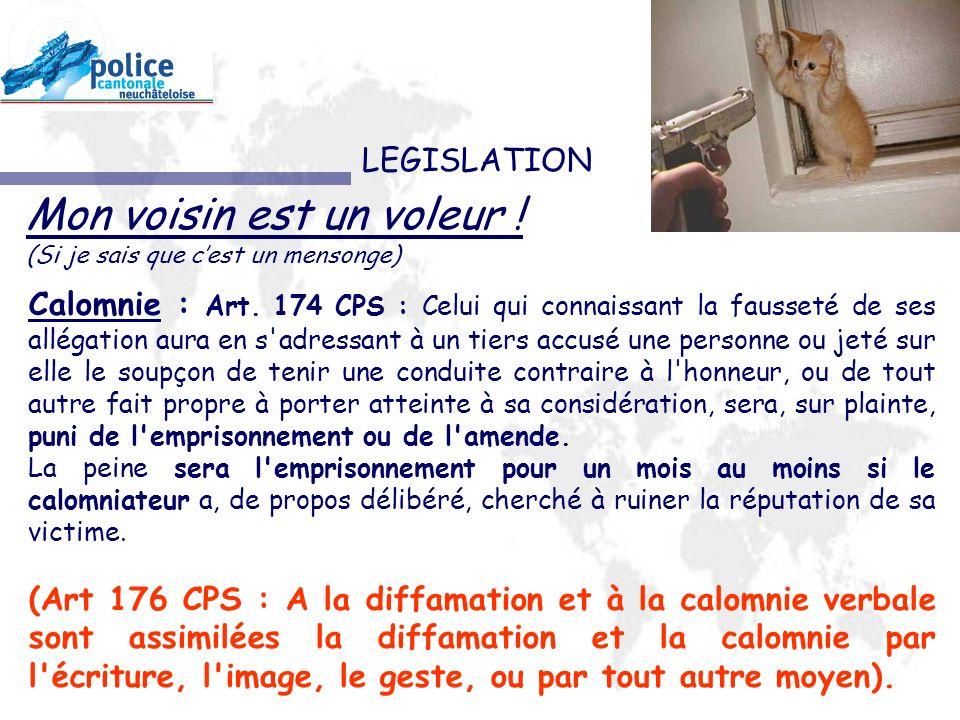 LEGISLATION Calomnie : Art.