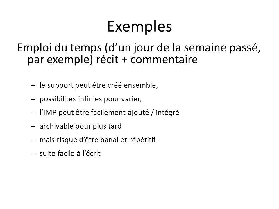 Exemples Emploi du temps (dun jour de la semaine passé, par exemple) récit + commentaire – le support peut être créé ensemble, – possibilités infinies pour varier, – lIMP peut être facilement ajouté / intégré – archivable pour plus tard – mais risque dêtre banal et répétitif – suite facile à lécrit