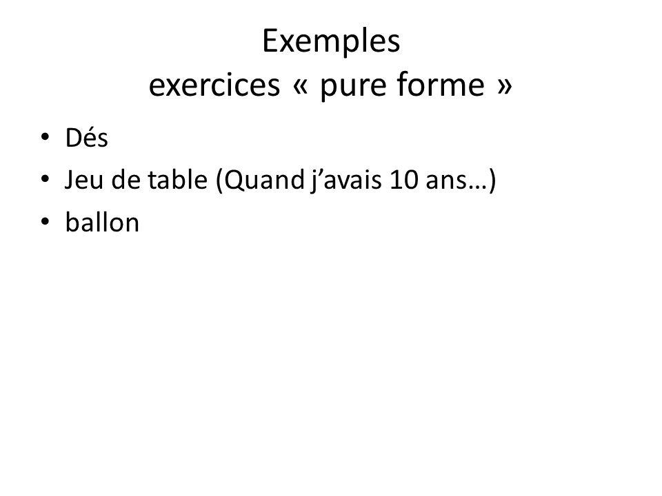 Exemples exercices « pure forme » Dés Jeu de table (Quand javais 10 ans…) ballon