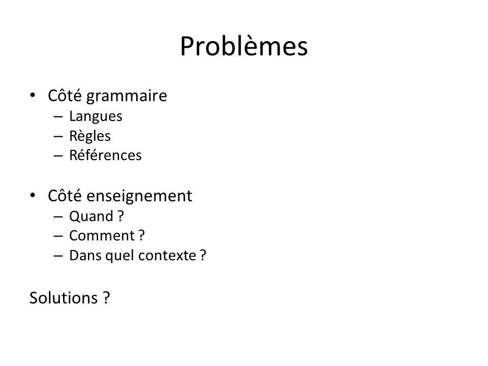Problèmes Côté grammaire – Langues – Règles – Références Côté enseignement – Quand .