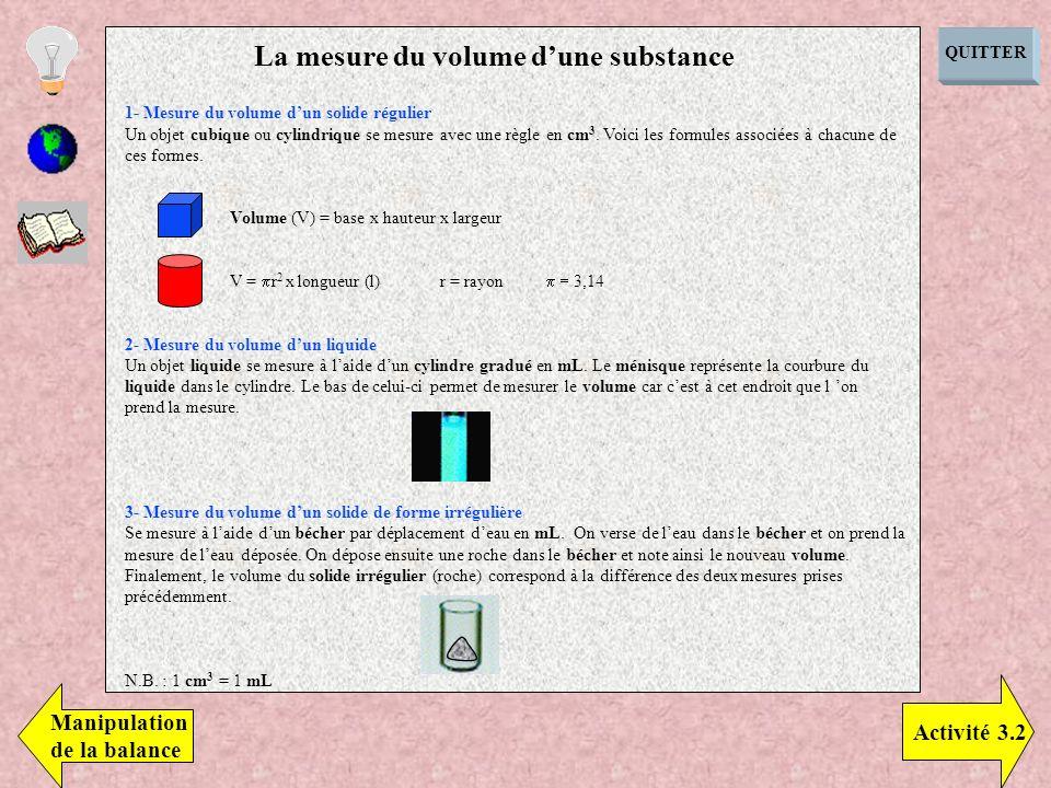 1- Mesure du volume dun solide régulier Un objet cubique ou cylindrique se mesure avec une règle en cm 3. Voici les formules associées à chacune de ce