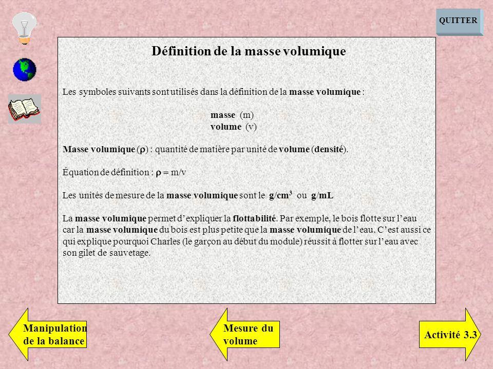 QUITTER Les symboles suivants sont utilisés dans la définition de la masse volumique : masse (m) volume (v) Masse volumique ( ) : quantité de matière par unité de volume (densité).