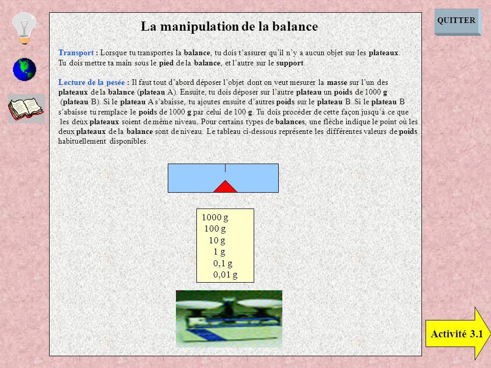 QUITTER Activité 3.1 La manipulation de la balance Transport : Lorsque tu transportes la balance, tu dois tassurer quil ny a aucun objet sur les plate