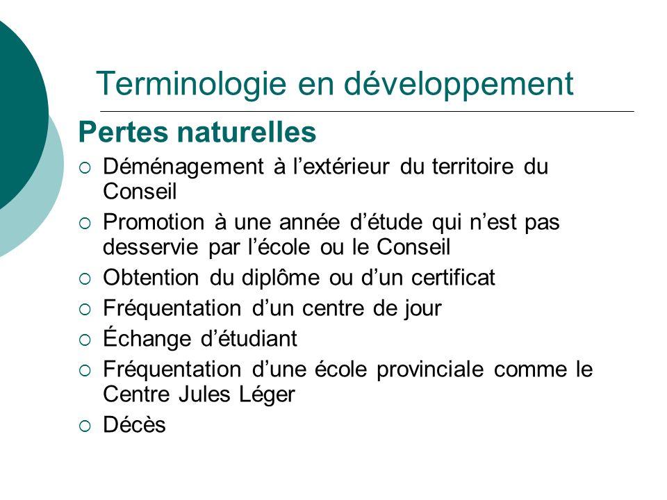 Terminologie en développement Pertes naturelles Déménagement à lextérieur du territoire du Conseil Promotion à une année détude qui nest pas desservie