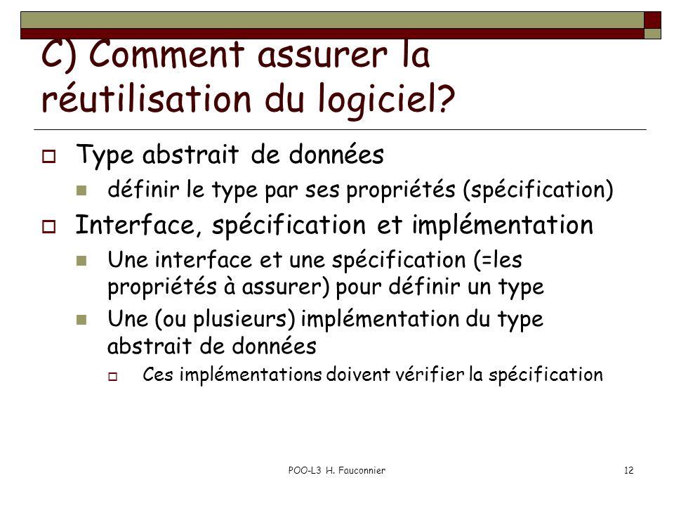 POO-L3 H. Fauconnier12 C) Comment assurer la réutilisation du logiciel? Type abstrait de données définir le type par ses propriétés (spécification) In