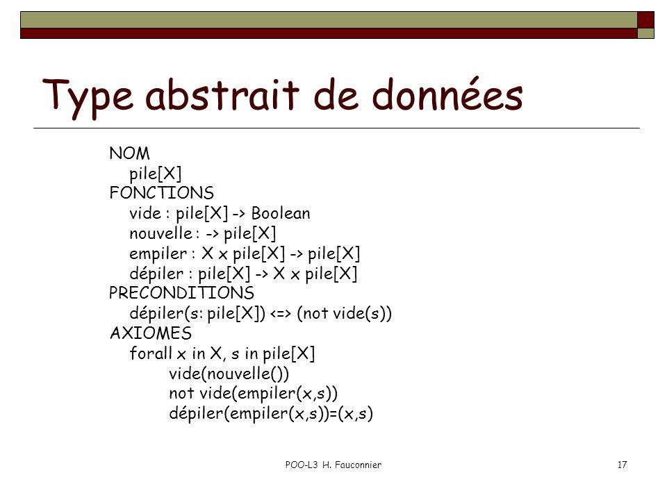 POO-L3 H. Fauconnier17 Type abstrait de données NOM pile[X] FONCTIONS vide : pile[X] -> Boolean nouvelle : -> pile[X] empiler : X x pile[X] -> pile[X]