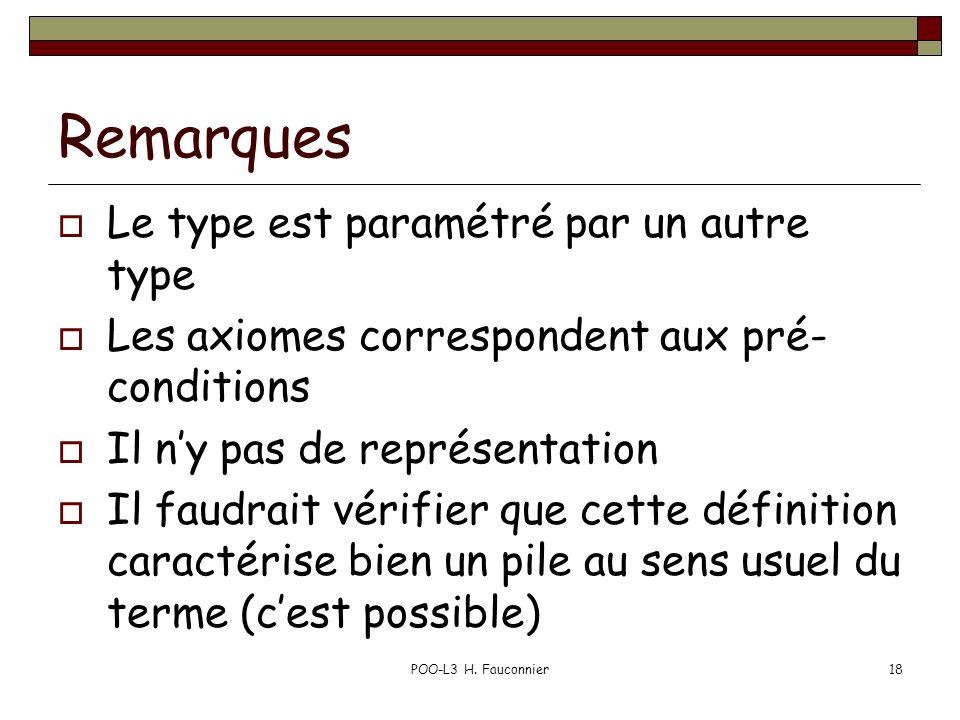 POO-L3 H. Fauconnier18 Remarques Le type est paramétré par un autre type Les axiomes correspondent aux pré- conditions Il ny pas de représentation Il