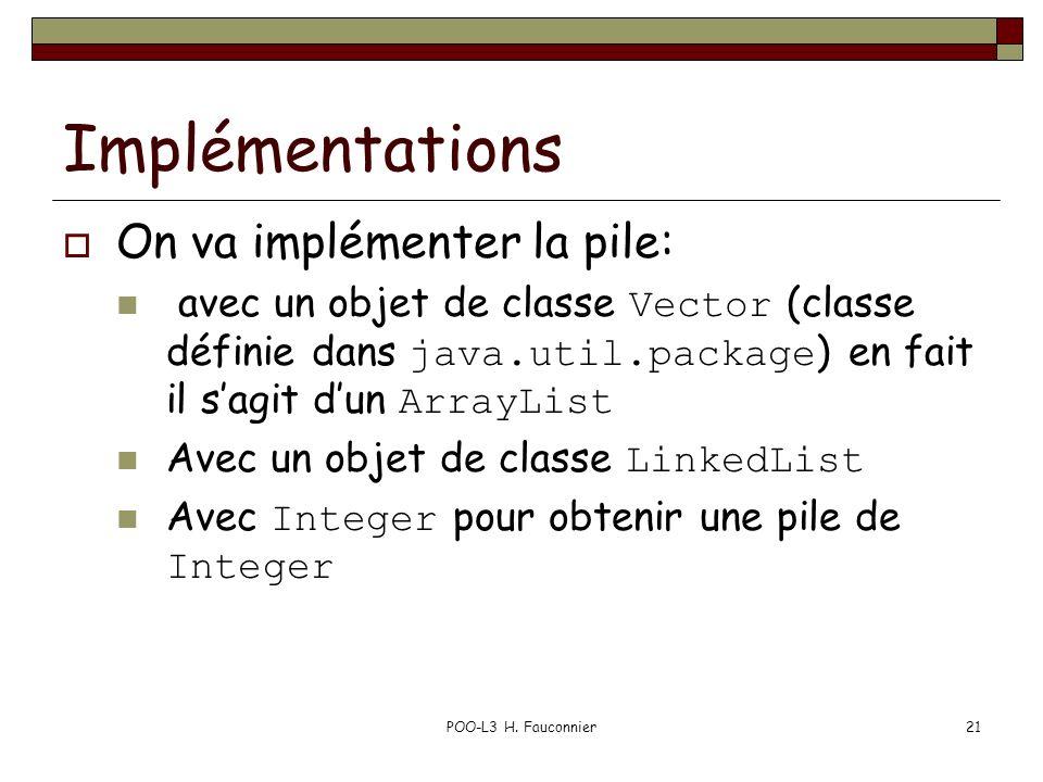 POO-L3 H. Fauconnier21 Implémentations On va implémenter la pile: avec un objet de classe Vector (classe définie dans java.util.package ) en fait il s