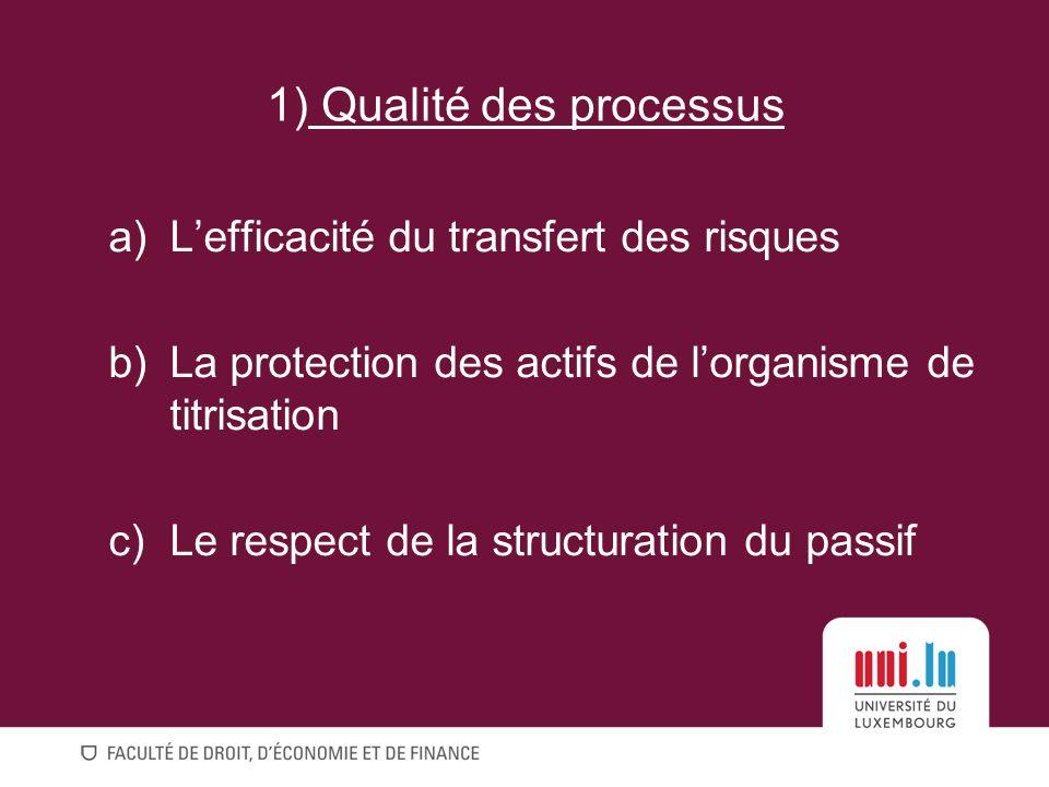 a)Lefficacité du transfert des risques b)La protection des actifs de lorganisme de titrisation c)Le respect de la structuration du passif 1) Qualité des processus