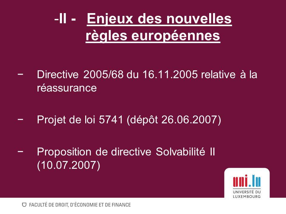 Directive 2005/68 du 16.11.2005 relative à la réassurance Projet de loi 5741 (dépôt 26.06.2007) Proposition de directive Solvabilité II (10.07.2007) -II - Enjeux des nouvelles règles européennes