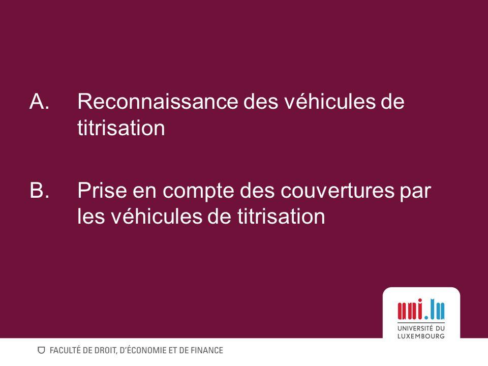 A.Reconnaissance des véhicules de titrisation B.Prise en compte des couvertures par les véhicules de titrisation