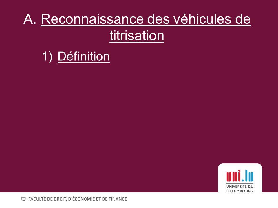 1)Définition A. Reconnaissance des véhicules de titrisation