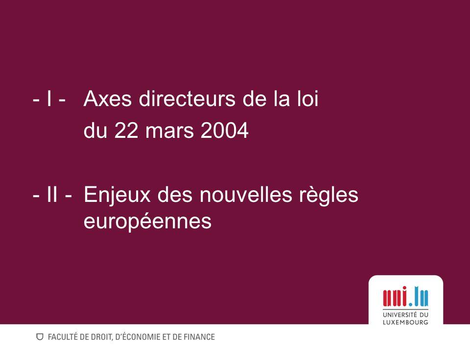 - I -Axes directeurs de la loi du 22 mars 2004 - II -Enjeux des nouvelles règles européennes