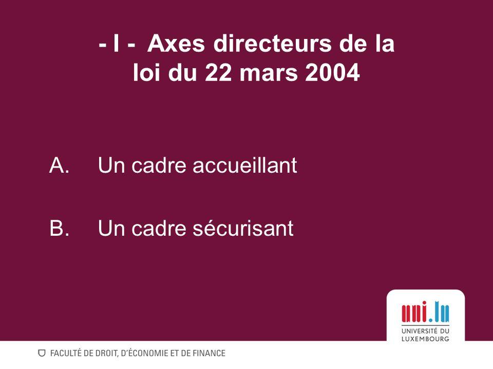 - I -Axes directeurs de la loi du 22 mars 2004 A.Un cadre accueillant B.Un cadre sécurisant
