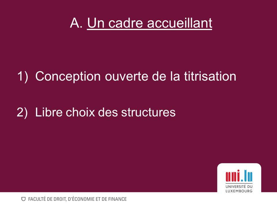 1)Conception ouverte de la titrisation 2)Libre choix des structures A. Un cadre accueillant