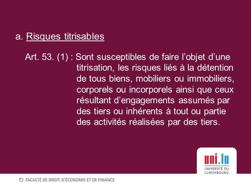 a.Risques titrisables Art. 53.