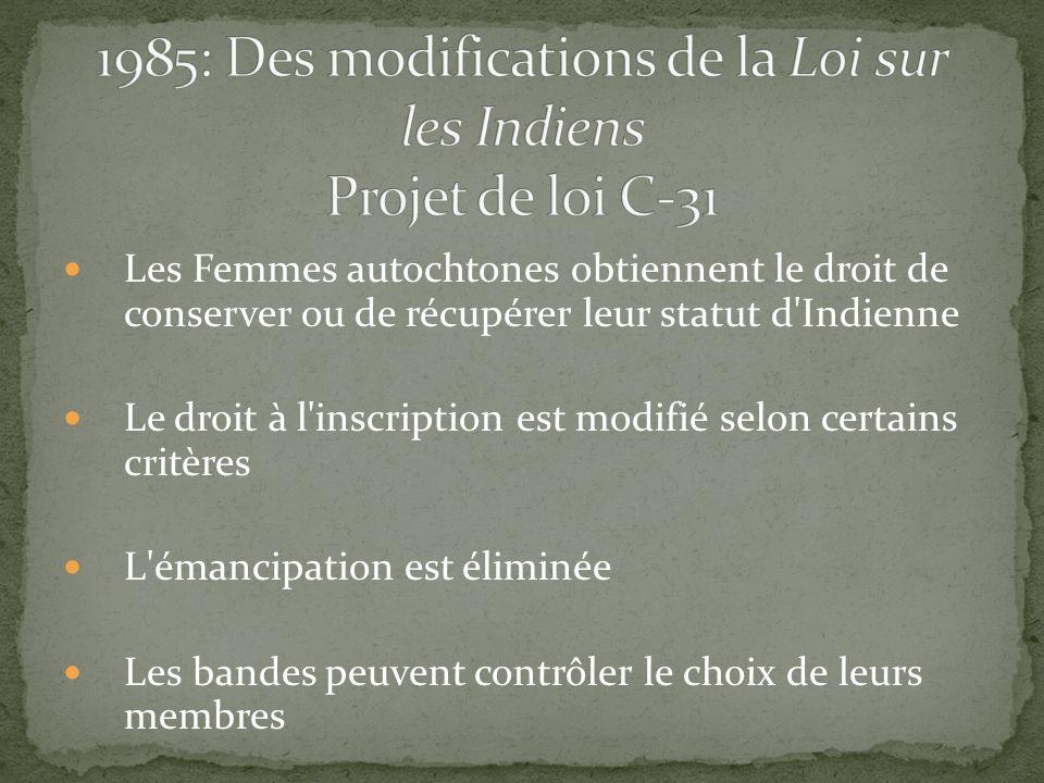 Les Femmes autochtones obtiennent le droit de conserver ou de récupérer leur statut d'Indienne Le droit à l'inscription est modifié selon certains cri
