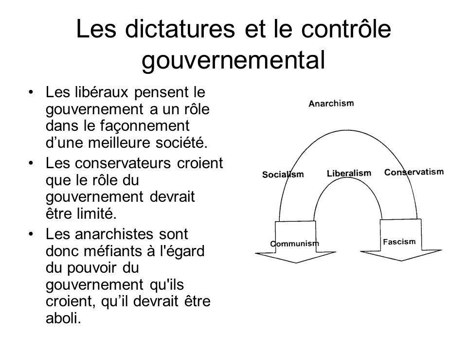 Les dictatures et le contrôle gouvernemental Les libéraux pensent le gouvernement a un rôle dans le façonnement dune meilleure société. Les conservate