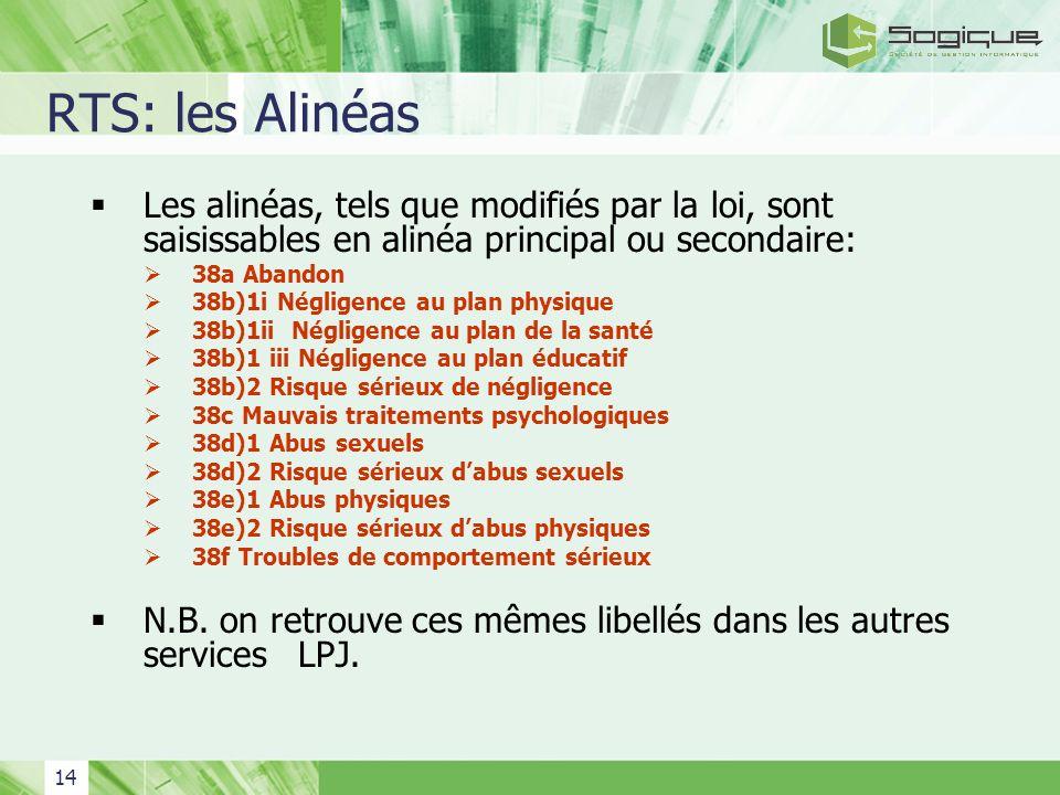 14 RTS: les Alinéas Les alinéas, tels que modifiés par la loi, sont saisissables en alinéa principal ou secondaire: 38a Abandon 38b)1i Négligence au p