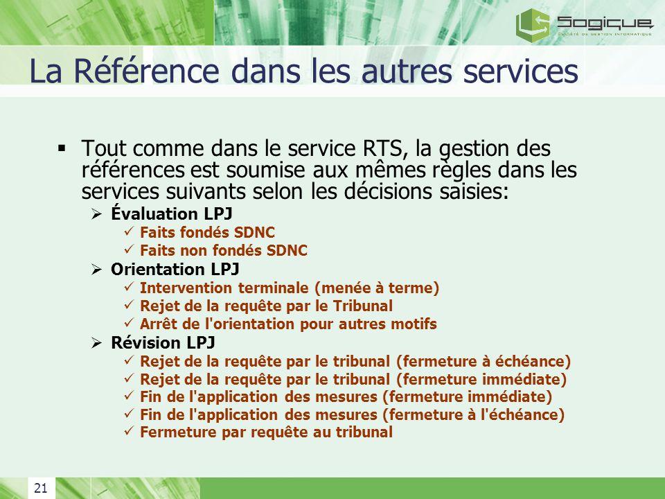 21 La Référence dans les autres services Tout comme dans le service RTS, la gestion des références est soumise aux mêmes règles dans les services suiv