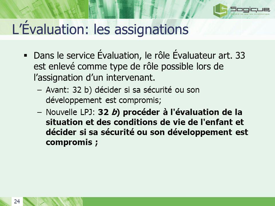 24 LÉvaluation: les assignations Dans le service Évaluation, le rôle Évaluateur art. 33 est enlevé comme type de rôle possible lors de lassignation du
