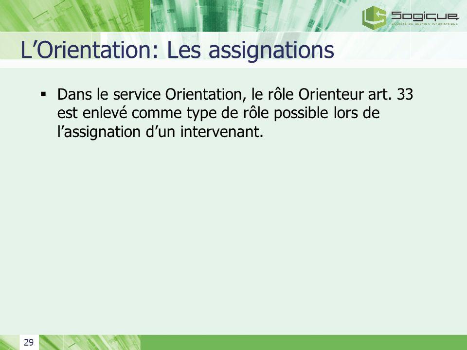 29 LOrientation: Les assignations Dans le service Orientation, le rôle Orienteur art. 33 est enlevé comme type de rôle possible lors de lassignation d