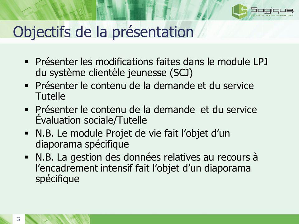 3 Objectifs de la présentation Présenter les modifications faites dans le module LPJ du système clientèle jeunesse (SCJ) Présenter le contenu de la de