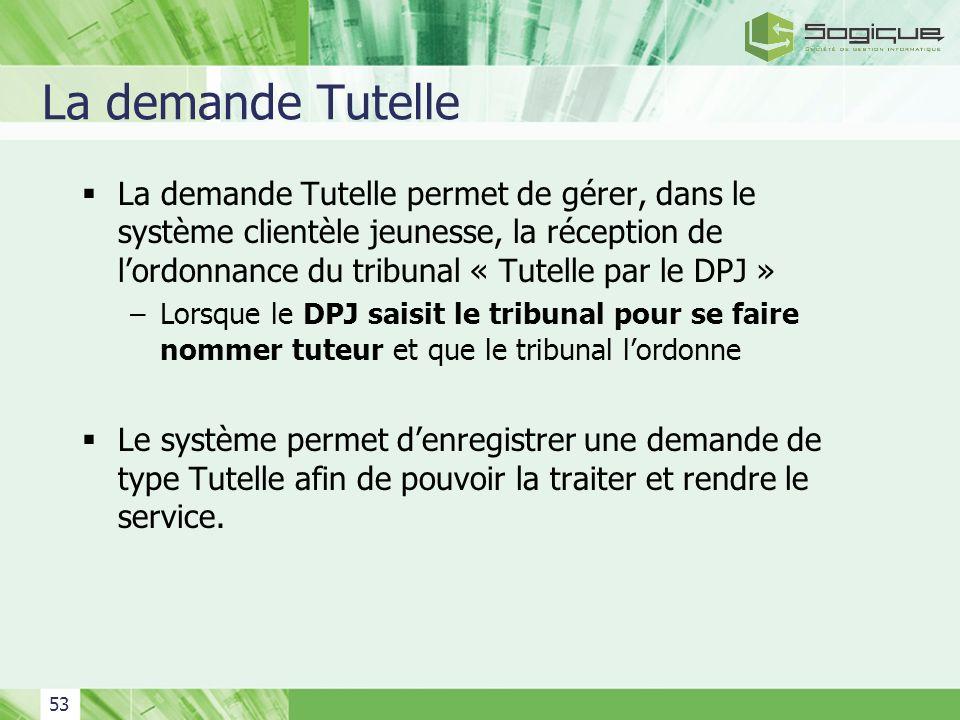 53 La demande Tutelle La demande Tutelle permet de gérer, dans le système clientèle jeunesse, la réception de lordonnance du tribunal « Tutelle par le