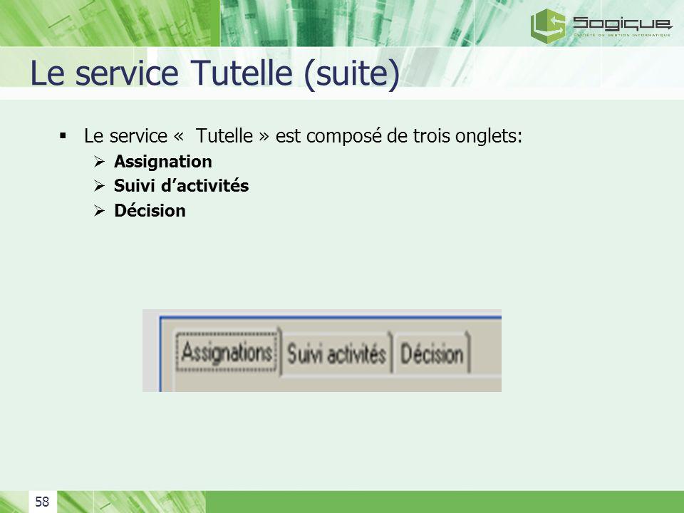 58 Le service Tutelle (suite) Le service « Tutelle » est composé de trois onglets: Assignation Suivi dactivités Décision