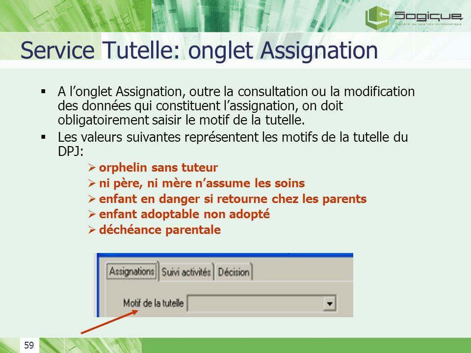 59 Service Tutelle: onglet Assignation A longlet Assignation, outre la consultation ou la modification des données qui constituent lassignation, on do