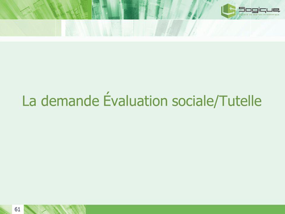 61 La demande Évaluation sociale/Tutelle
