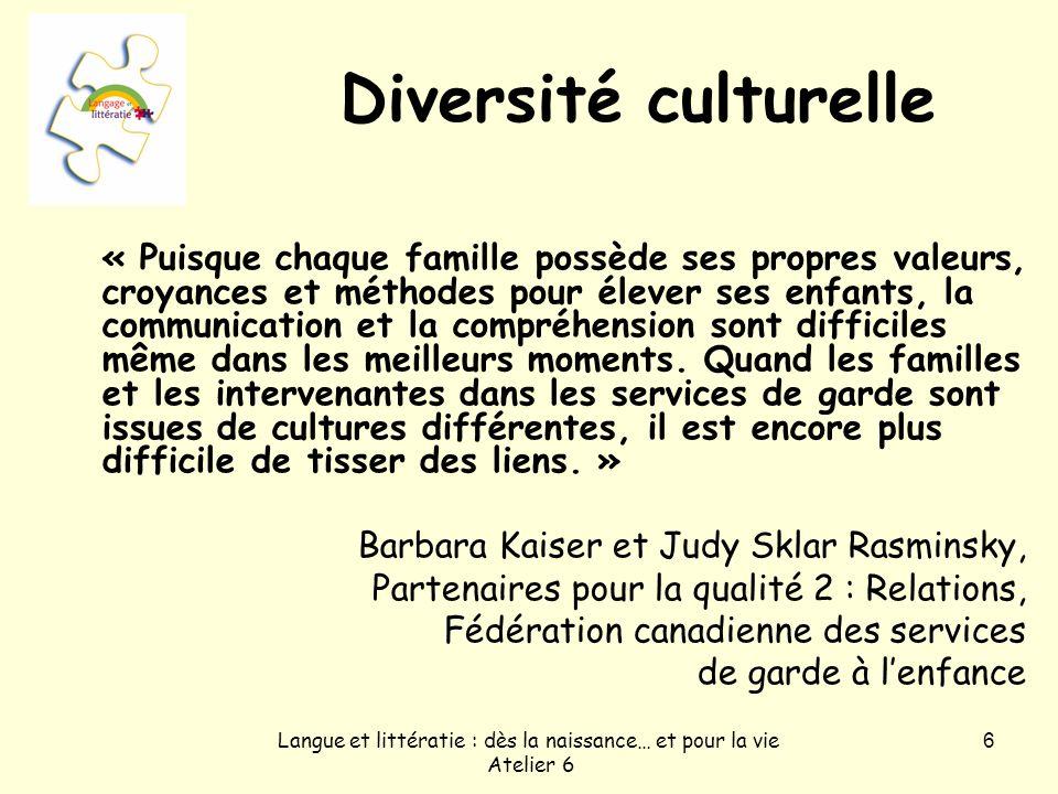 Langue et littératie : dès la naissance… et pour la vie Atelier 6 6 Diversité culturelle « Puisque chaque famille possède ses propres valeurs, croyanc