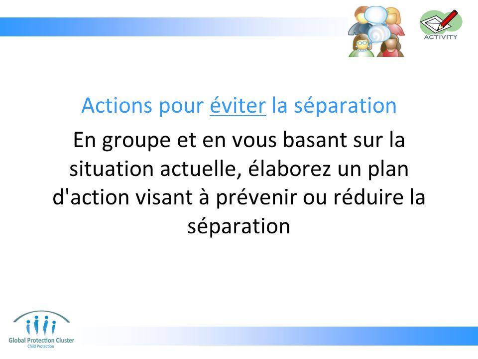 Actions pour éviter la séparation En groupe et en vous basant sur la situation actuelle, élaborez un plan d'action visant à prévenir ou réduire la sép